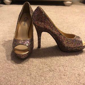 Rainbow glitter CANDIES heels. NEVER WORN